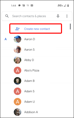 android add contact name phone email - list of contacts