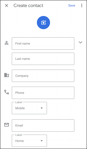 android add contact name phone email - default contact fields