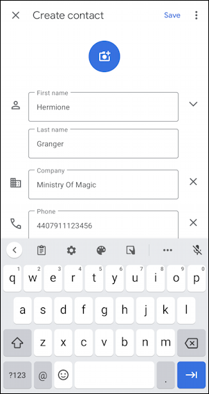 android add contact name phone email - hermione granger