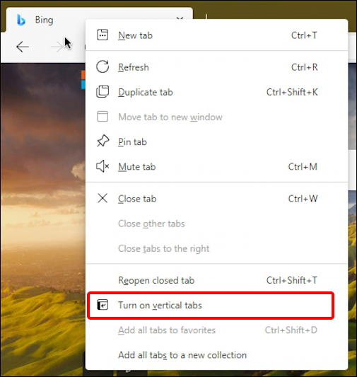 microsoft edge vertical tabs - tab menu