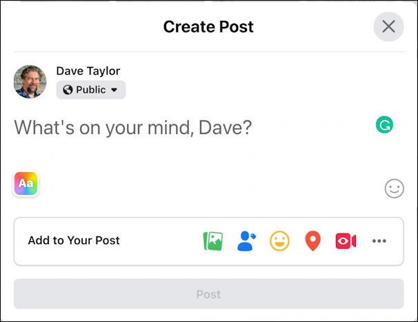 facebook post window - basic display