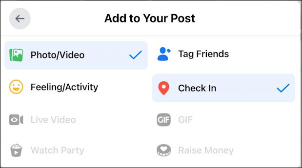 facebook post window - add to your post