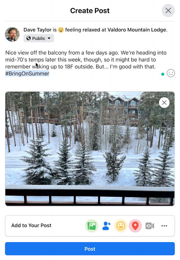 facebook post window - photo location feeling