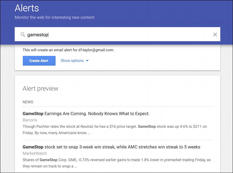 google alerts - gamestop gme alert news investment financial