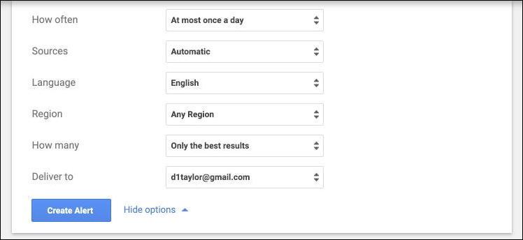 google alerts - options settings preferences