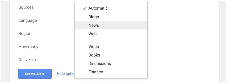google alerts - news sources video books