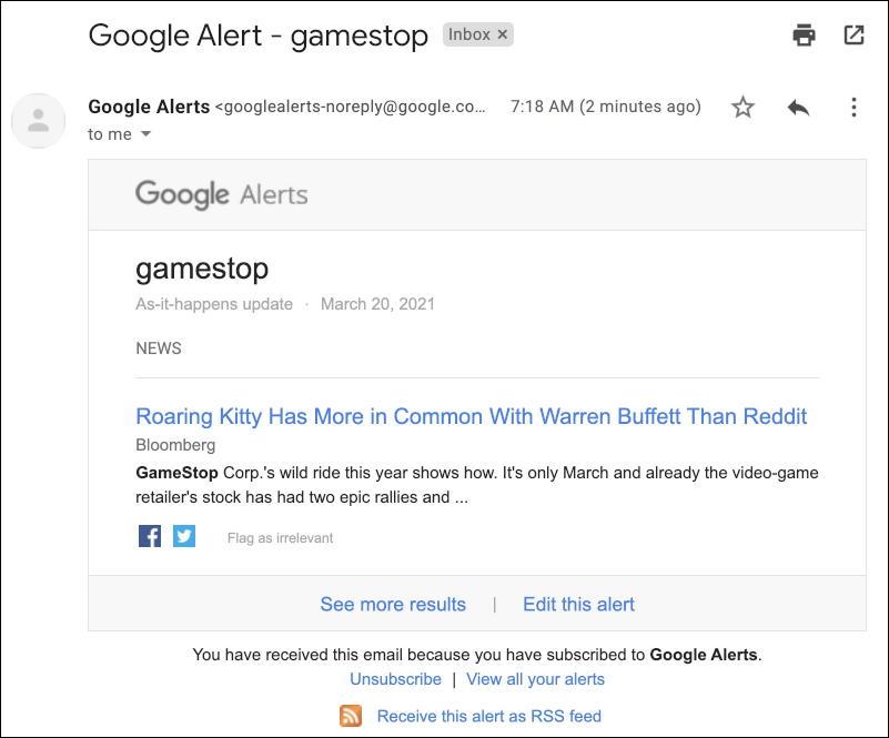 google alerts - sample email message