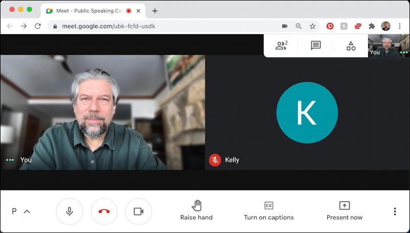 google meet main view screen window