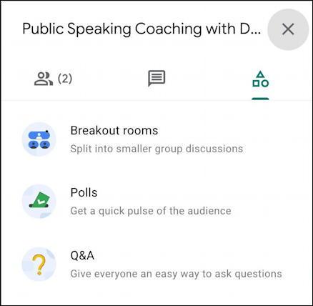 google meet meeting - activities breakout rooms polls q&a