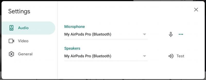 google meet hangout - audio settings