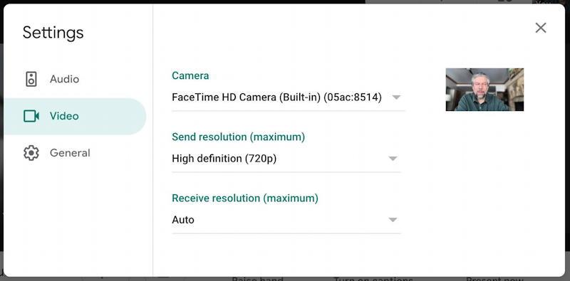 google meet hangout - video settings
