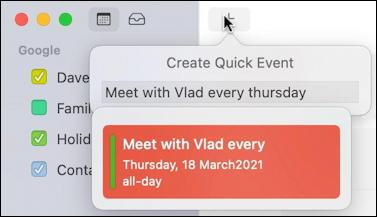 mac macos calendar - recurring event - nl parser