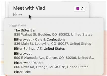 mac macos calendar - recurring event - list of venue matches