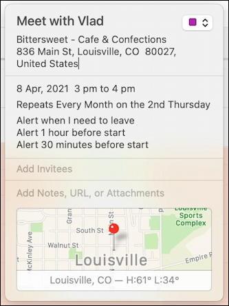 mac macos calendar - recurring event - venue map