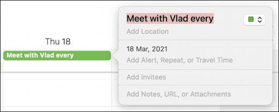 mac macos calendar - recurring event - single event
