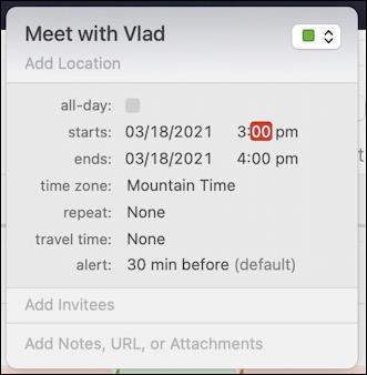 mac macos calendar - recurring event - start time