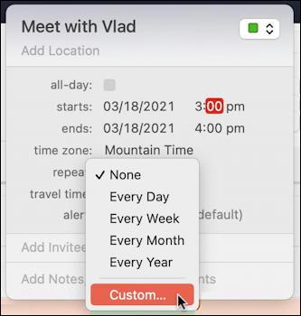 mac macos calendar - recurring event - specify repeat