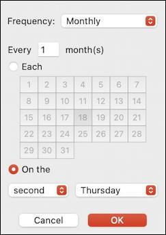 mac macos calendar - recurring event - complex recurrence repeat