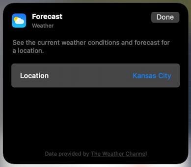 mac macos 11 - control center - weather widget - specify location