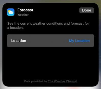 mac macos 11 - control center - weather widget - my location