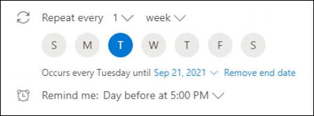 outlook.com calendar - basic event entry - birthday - custom repeat frequency
