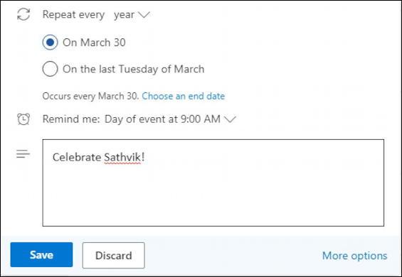 outlook.com calendar - basic event entry - birthday - additional info