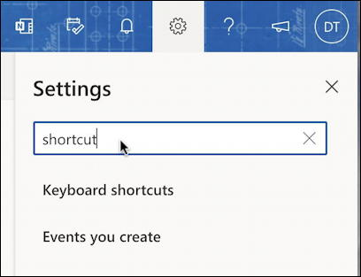 outlook.com settings - search for keyboard shortcuts settings