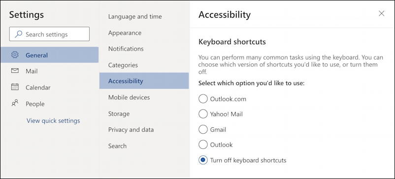outlook.com settings - keyboard shortcuts settings preferences - off disabled