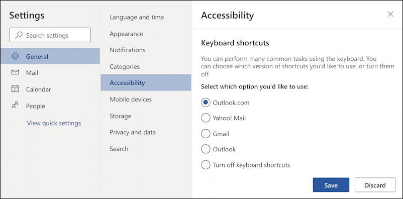 outlook.com settings - keyboard shortcuts settings preferences - outlook.com shortcuts