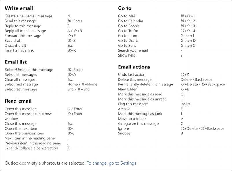 outlook.com settings - keyboard shortcuts settings preferences - cheat sheet summary