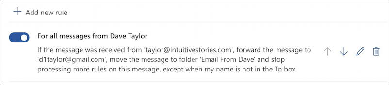 outlook.com - create email filter - rule summary