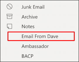 outlook.com - create email filter - new folder created