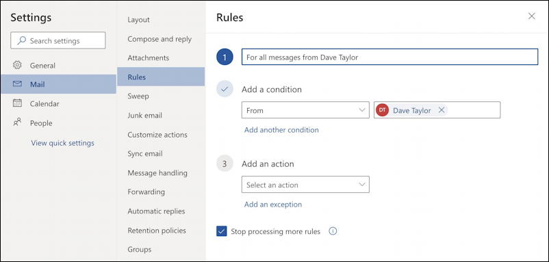 outlook.com - create email filter - create rule