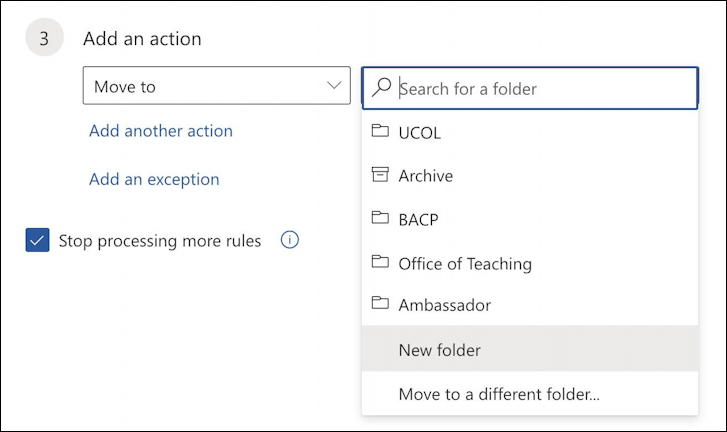 outlook.com - create email filter - save in folder