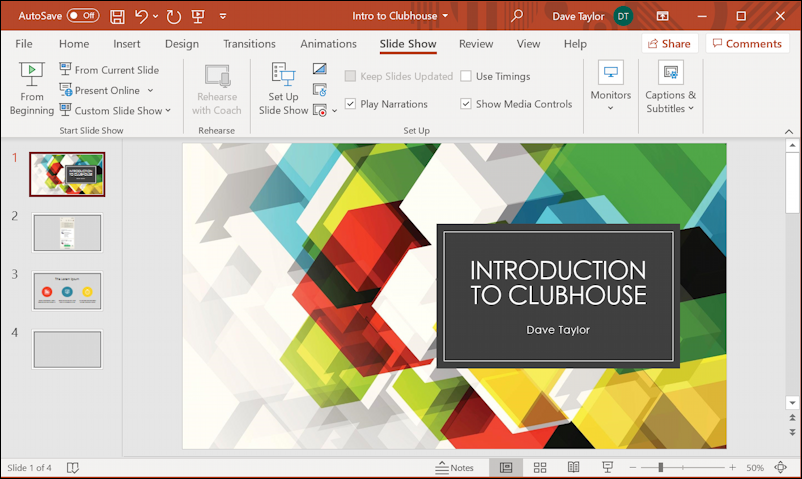 microsoft powerpoint presentation - main view
