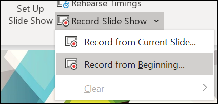 microsoft powerpoint presentation - record slide show options
