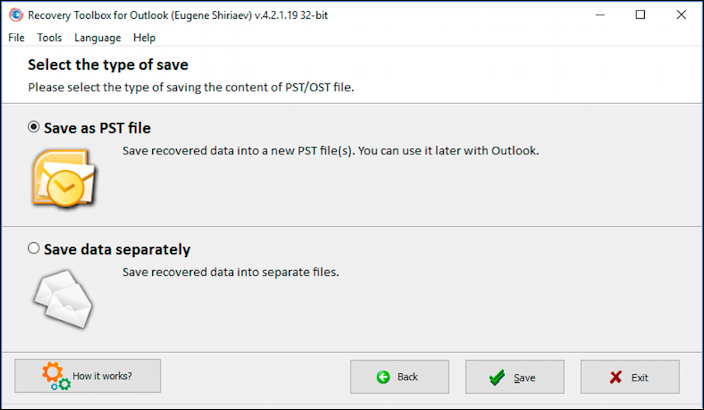 recovery toolbox for outlook - save as pst or separate data