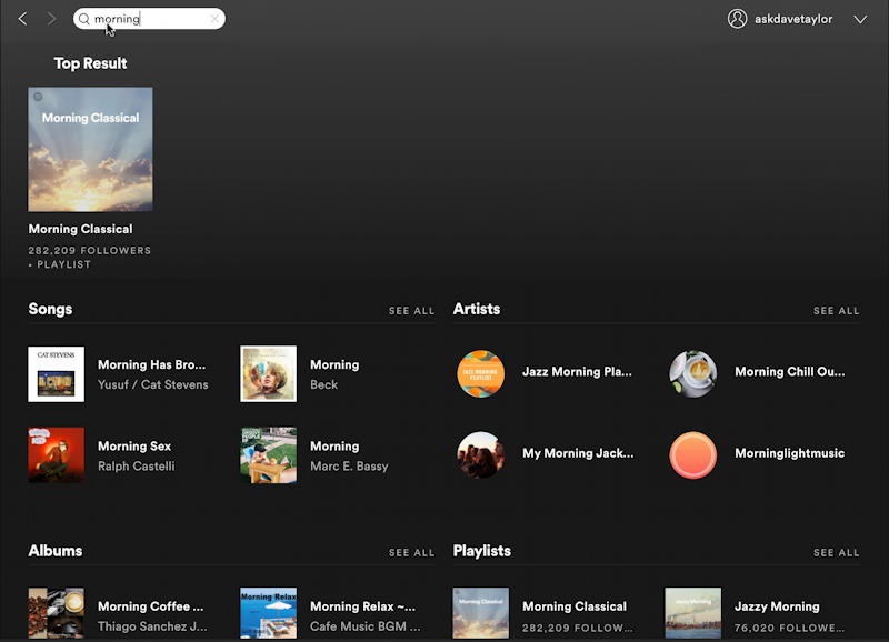 spotify music create new playlist - search for 'morning'
