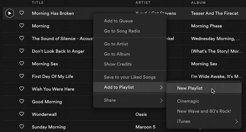 spotify music create new playlist - list by song title add to playlist