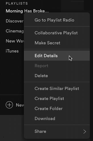 spotify music create new playlist - rename playlist