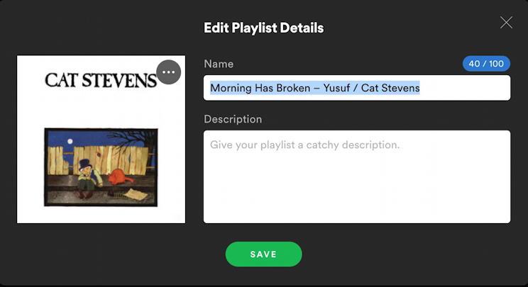 spotify music create new playlist - edit playlist