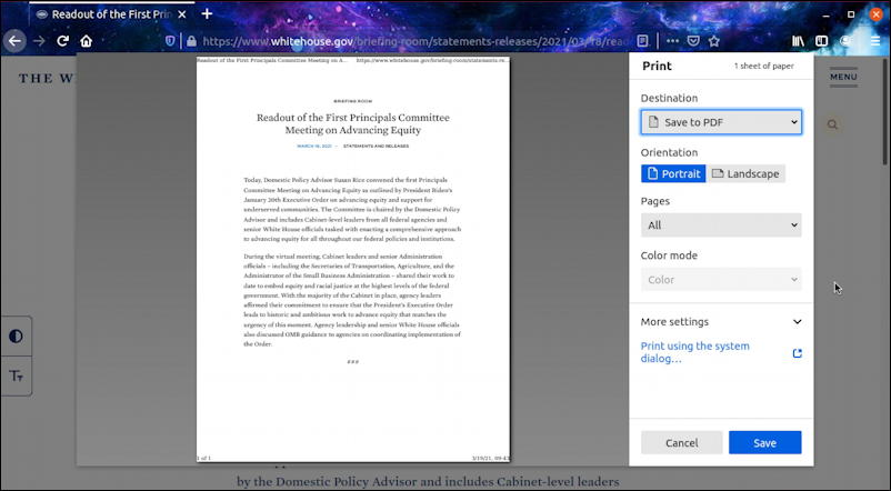 ubuntu linux firefox - print web page document