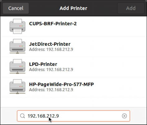 ubuntu linux - settings - printers - ip wireless wifi printer drivers