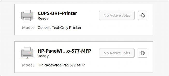 ubuntu linux - settings - printers - printers added