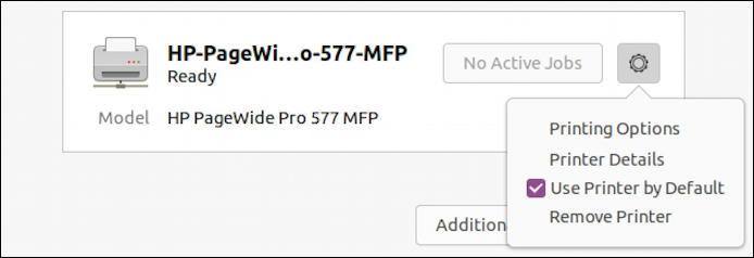 ubuntu linux - settings - printers - rename printer set default
