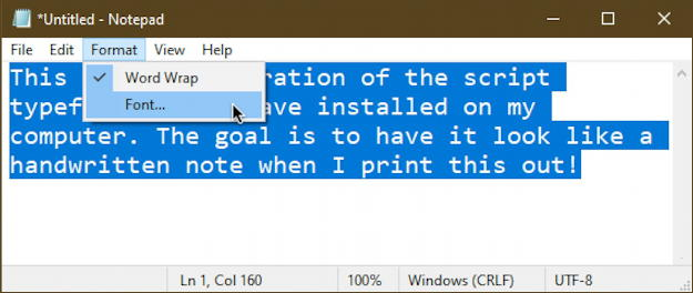 font demo - notepad - windows 10 - format