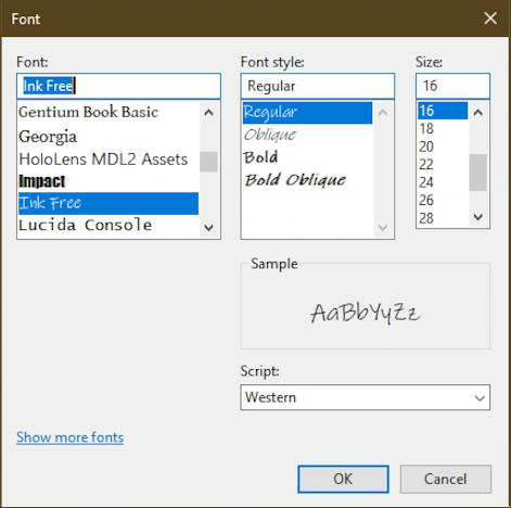 font demo - notepad - windows 10 - font selection window