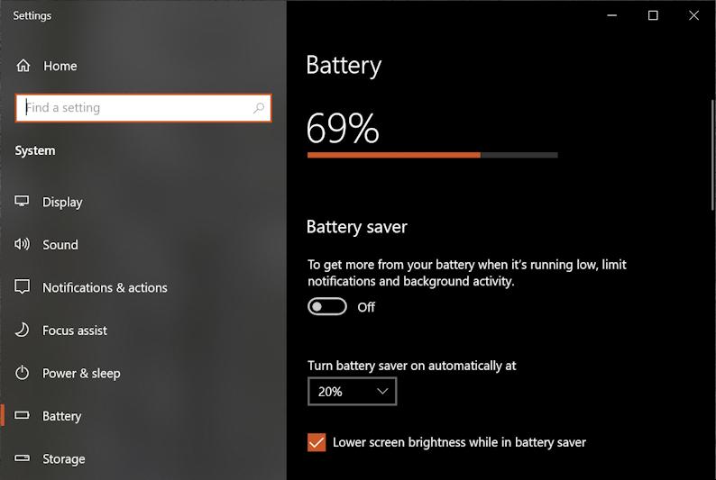 windows 10 pc - battery life - power settings