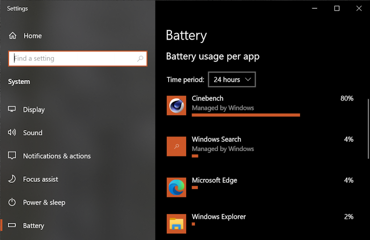 windows 10 pc - battery life - usage apps power
