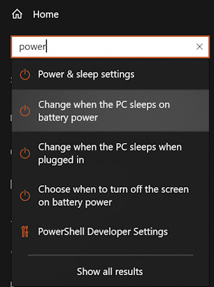 win10 settings - search for 'power'